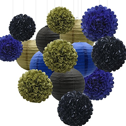 KAXIXI Hanging Party Decorations Set, 15pcs Navy Blue Gold Black Paper Flowers Pom Poms Balls and Paper Lanterns for Wedding Birthday Bridal Baby Shower Graduation