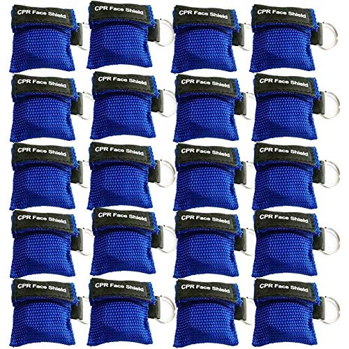 (20pcs CPR Face Shield Mask Keychain Ring Emergency Kit CPR Face Shields for First Aid or CPR Training (Blue-20))