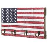 4-Hook American Flag Design Wood Wall Mounted Key Hook Rack