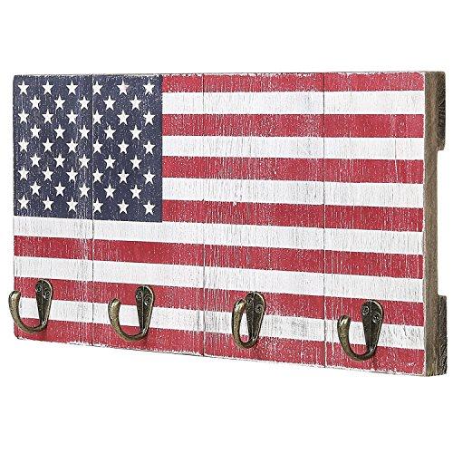 Hook Wood Wall Key Rack (4-Hook American Flag Design Wood Wall Mounted Key Hook Rack)