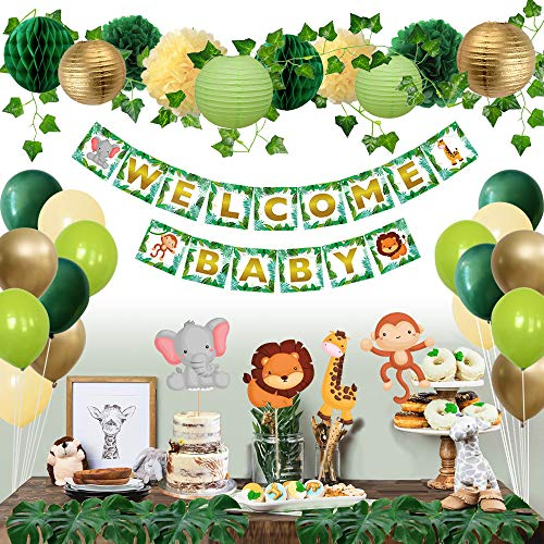 Sweet Baby Co. Jungle Theme Safari Baby Shower Decorations with Banner, Animal Centerpieces, Tropical Leaves, Ivy Garland, Paper Lanterns, Pom Poms, Honeycomb | Neutral Party Supplies for Boy or