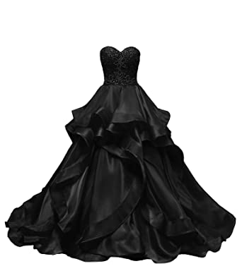 f9520b1f1ba1 HEIMO Women's Beaded Evening Party Ball Gowns Ruffled Sequined Formal Prom  Dresses Long H196 0 Black