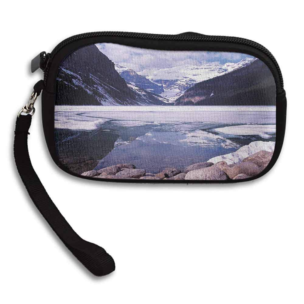 Winter Personalized Wallets Lake Louise Alberta Canada Tourist Attraction Mountains Travel Theme W 5.9x L 3.7 Clutch Pouch Small Purse