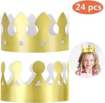 Amazon.com: 24 coronas doradas de rey (2 estilos), papel de ...