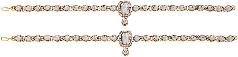 2 pc Bracelet Payal Foot Jewelry Efulgenz Indian Bollywood Crystal Rhinestone Faux Kundan Wedding Bridal Anklet Set