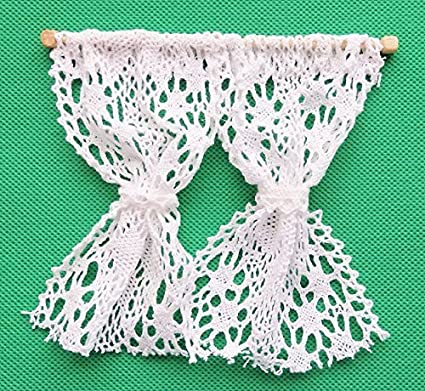 Amazoncom Melody Jane Dollhouse White Crochet Lace Curtains Nets 1
