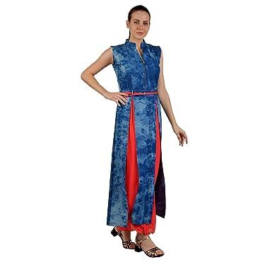 8ea08dc56ac AA Trendz Designer Women's Denim Long Kurti/Sleeveless /Casual Floor Length  Kurti/Dress