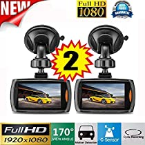 "OVERMAL 2x Car 1080P 2.4"" Full HD DVR Vehicle Camera Dash Cam Video Recorder G-sensor Night Vision"