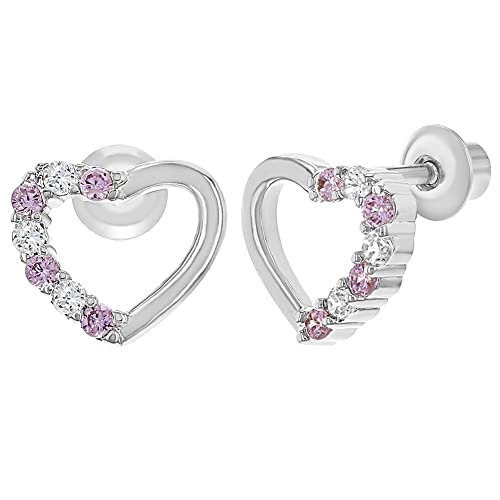 75aac228d Image Unavailable. Image not available for. Color: Rhodium Plated Open  Heart Clear Pink CZ Girl Screw Back Toddlers Girl Earrings