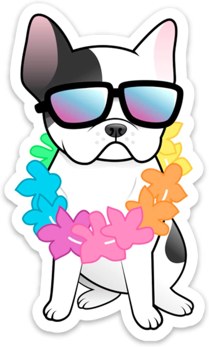 Stickeroonie Vinyl Sticker French Bulldog Vinyl Decals Frenchie Dog Lei Hawaiian Laptop Stickers, Skateboard Stickers, Hydroflask Stickers, Car Stickers, Phone Stickers 4 x 3""