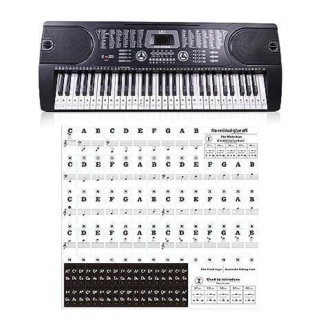 TUANMEIFADONGJI Pegatina para Teclado De Piano Transparente 54 61 88 ...