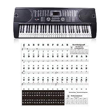 TUANMEIFADONGJI Pegatina para Teclado De Piano Transparente 54 61 88 Teclas Teclado Electrónico De Plástico Pegatina para Clave Estiba De Piano Pegatina De ...