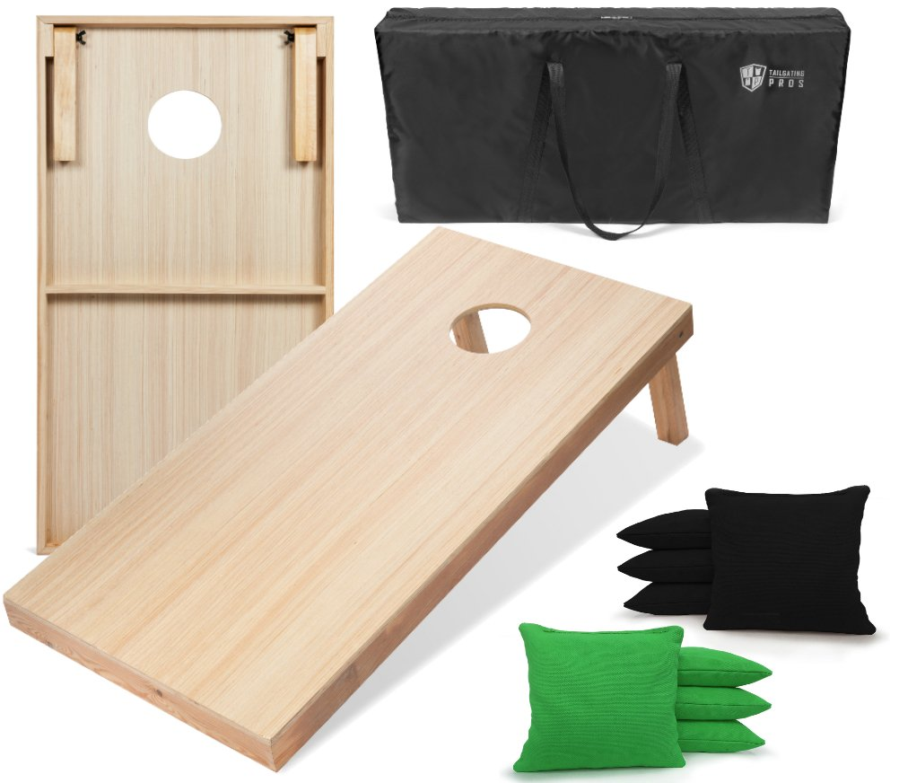 Tailgating Pros 4'x2' WoodGrain Finish Cornhole Boards w/Carrying Case & set of 8 Cornhole Bags (YOU PICK COLOR) 25 Bag Colors! (Black/Kelly Green) by Tailgating Pros