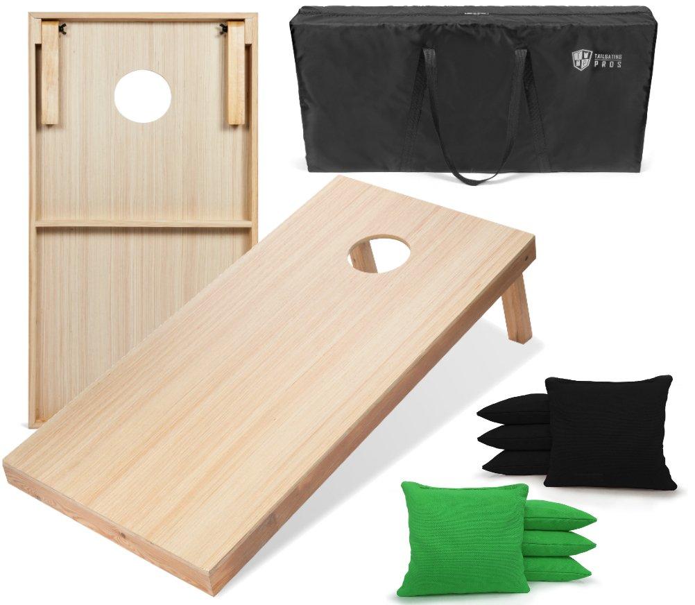 Tailgating Pros 4'x2' WoodGrain Finish Cornhole Boards w/Carrying Case & set of 8 Cornhole Bags (YOU PICK COLOR) 25 Bag Colors! (Black/Kelly Green)
