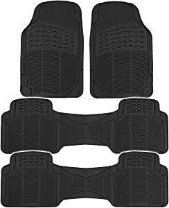 BDK 783-3Row ProLiner Original Heavy Duty 4pc Front & Rear Rubber Floor Mats for Car SUV Van (for 3 Row Vehicles) - All Weather Protection Universal Fit (Black)