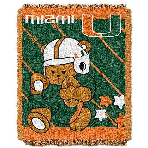The Northwest Company Officially Licensed NCAA Miami Hurricanes Fullback Woven Jacquard Baby Throw Blanket, 36
