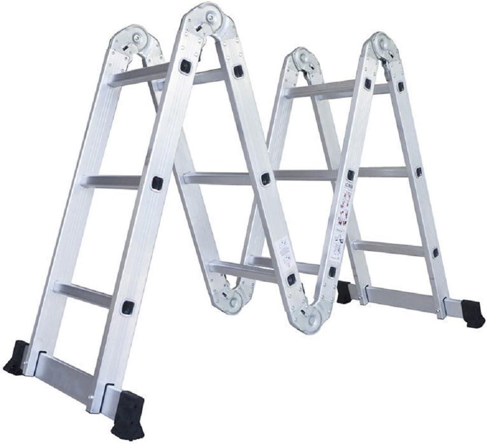 Escalera de aluminio Ampliar plegable paso andamio trabajo 12.1 Ft Multi posición propósito extensible techo resistente: Amazon.es: Bricolaje y herramientas