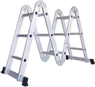 12,1 m multiusos de aluminio escalera plegable paso andamio extensible techo resistente: Amazon.es: Bricolaje y herramientas