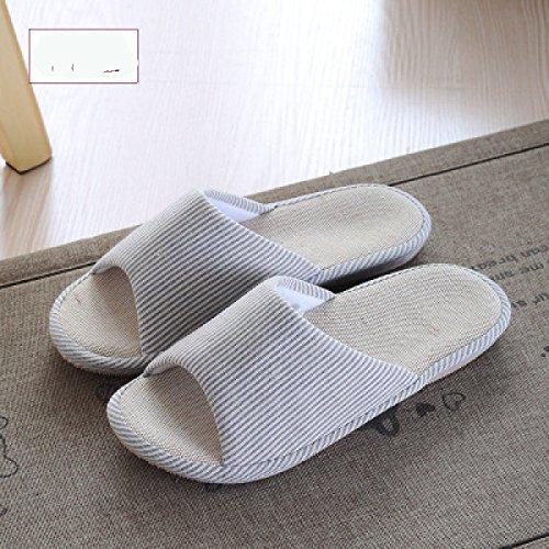 in antiscivolo bagno Uomo Home Coppia blu Lino spesso Pantofole Sandali Estate da Donna casa pantofole legno Interni e marrone qvgO0w4O