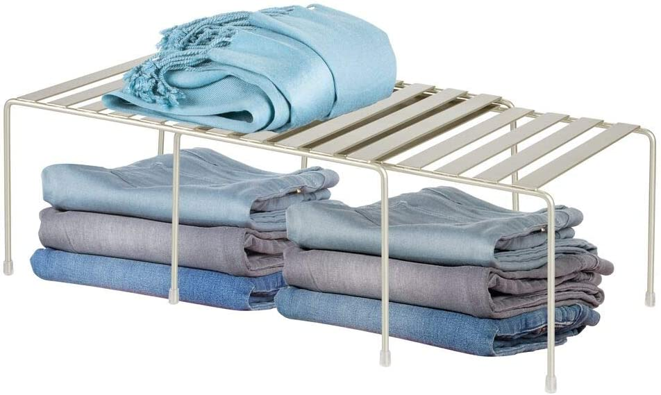 mDesign Adjustable Metal Stackable Storage Shelf - Closet, Cabinet, Countertop 2-Tier Raised Organizer - for Bedrooms, Bathrooms, Entryways, Hallways - PC Satin