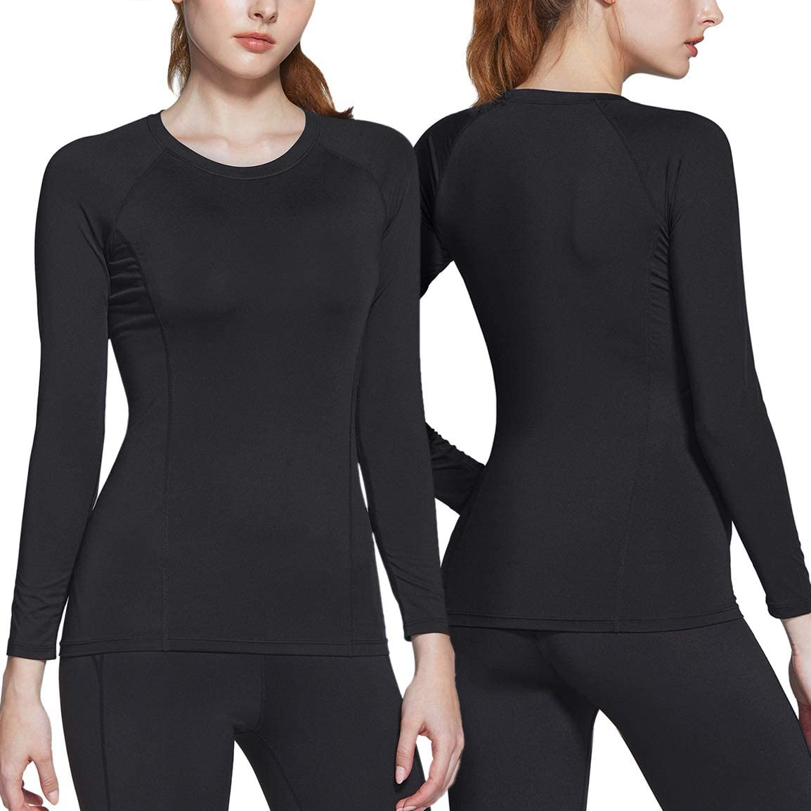 Cool Dry Fit Long Sleeve Workout Tops Athletic Exercise Gym Yoga Shirts ATHLIO 2 Pack Womens Sports Compression Shirt