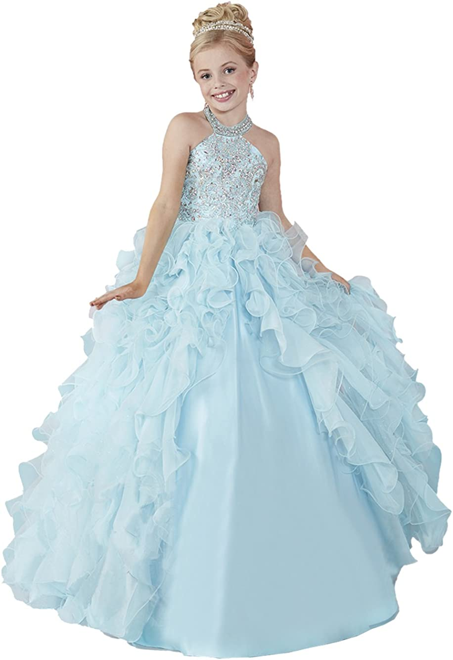 HuaMei Girls' 5 ☆ very popular Chiffon Halter Columbus Mall Birthday Gowns Ball Party Page Kids