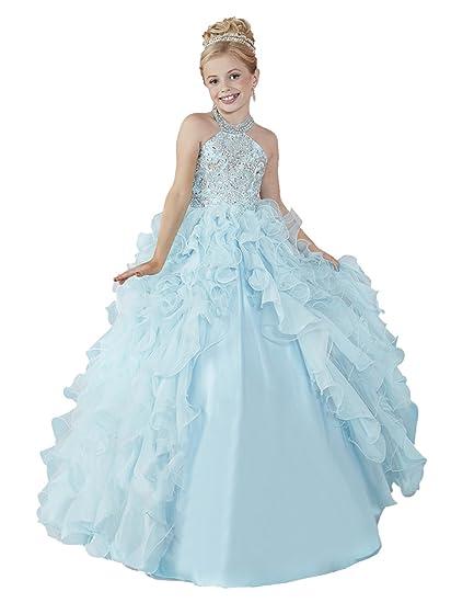 Amazoncom Huamei Girls Chiffon Halter Birthday Party Ball Gowns