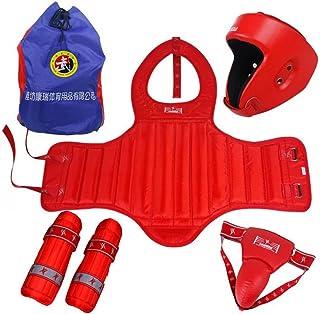 NJS gratuit Combat de boxe et équipement de protection 5pcs Ensemble avec sac Rouge M