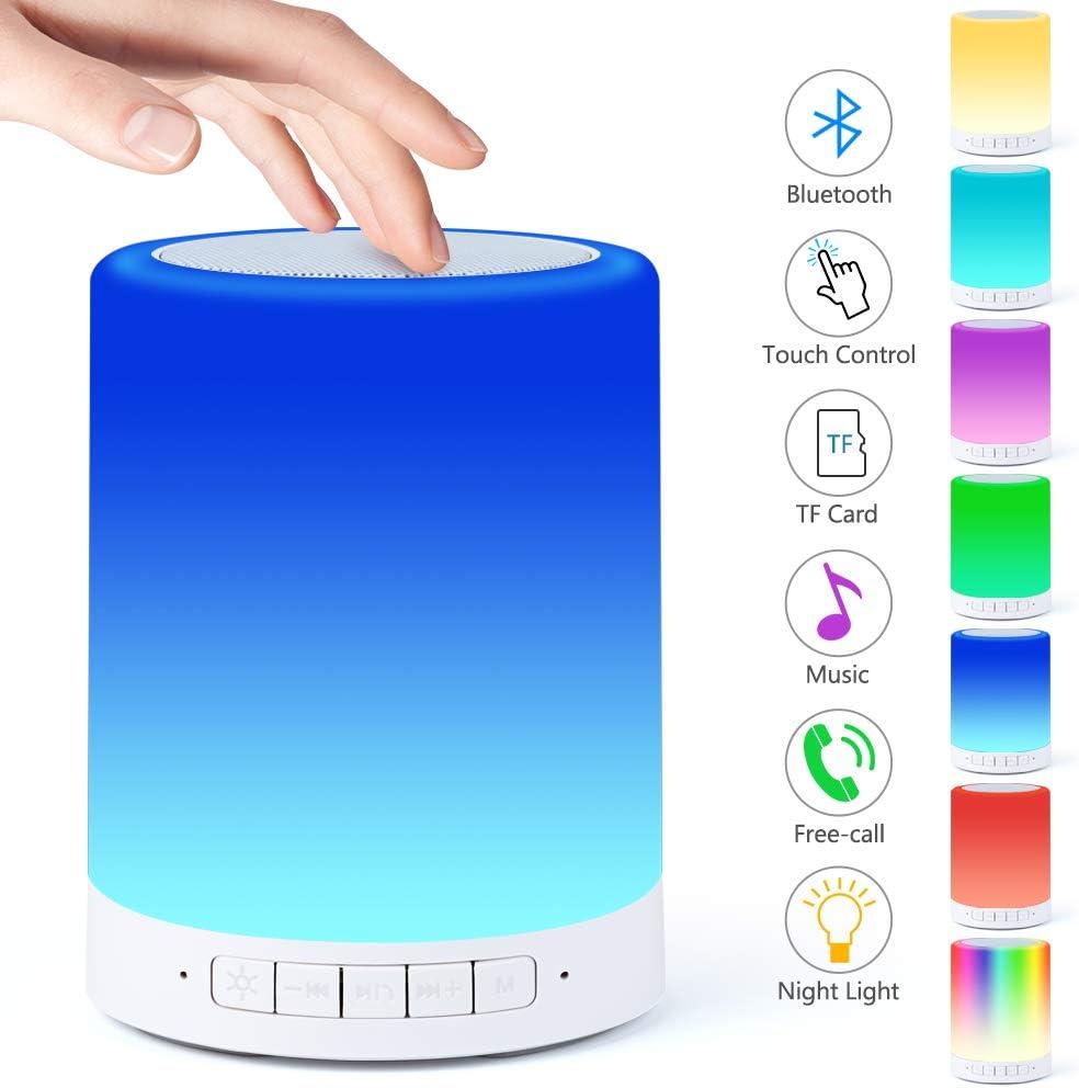 Lámpara de Mesilla de Noche con Sensor Táctil,Lámpara de Altavoz Bluetooth luz Cálida Regulable y Linterna Portátil para Exteriores que Cambia de 7 Colores, Regalos para Mujeres Niños