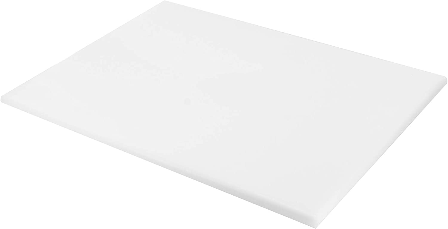 Vance Professional Grade 18 x 14 inch 1/2 inch thick HDPE Poly Cutting Board | BPA-Free | Non-Porous | Dishwasher Safe | White