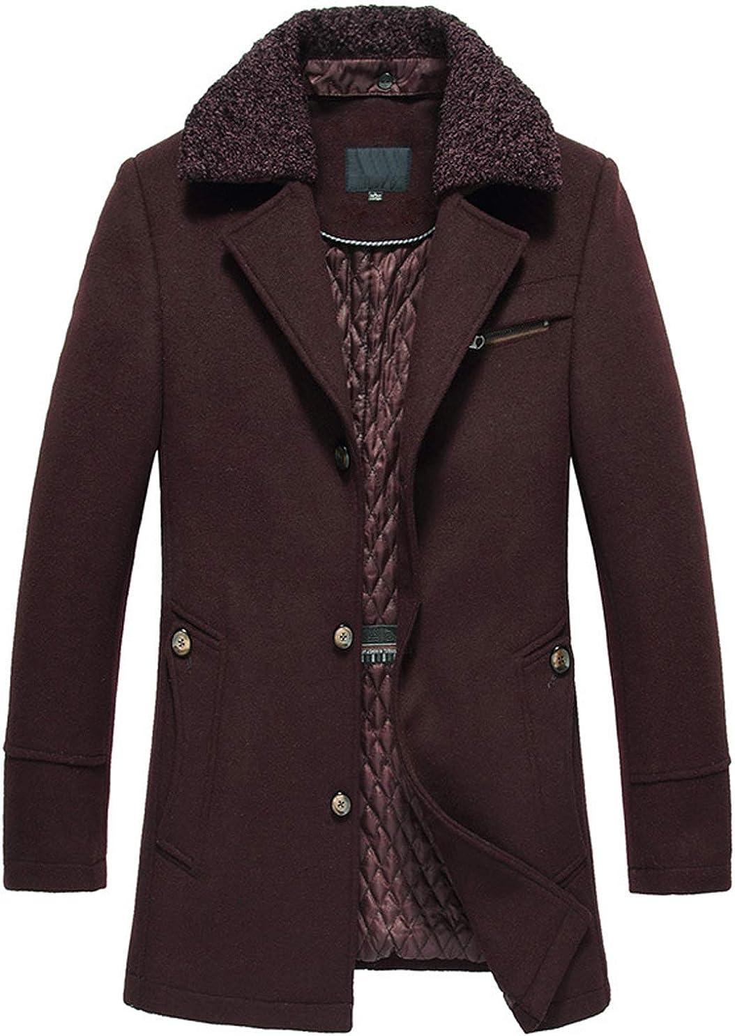 chouyatou Mens Winter Removable Fur Collar Single Breasted Mid Wool Walker Top Coat