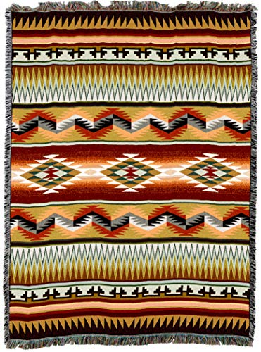 Pure Country Weavers | Sandoval Earth Blanket | Woven Throw with Fringe Cotton USA 72x54 from Pure Country Weavers