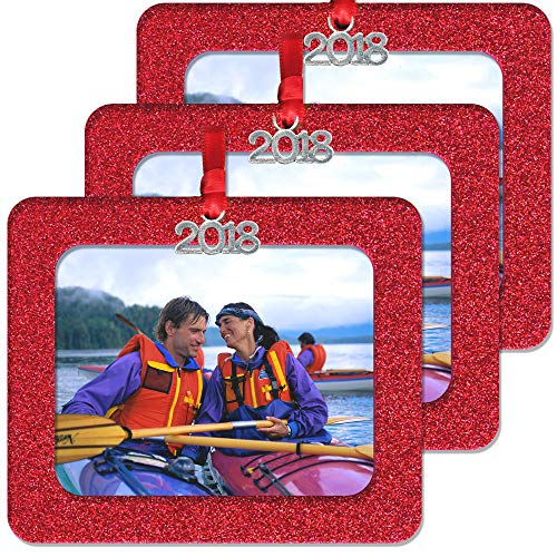 - 2018 Magnetic Glitter Christmas Photo Frame Ornaments with Non Glare Photo Protector, Horizontal 3-Pack- Red