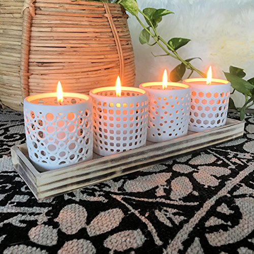 The Naturally Modern Wind light Centerpiece Collection on a Tray, Set of 5, Porcelain, Grainy Wood, White, Pale Blue, 12 ½ L x 3 ½ W x 3 ½ H Inches, By Whole House (Floral Wood Candle Holder)