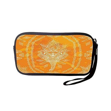 c18ac6be2ce iPrint Neoprene Wristlet Wallet Bag,Coin Pouch,Elephant Mandala,Mehndi  Design Sketchy Animal