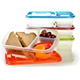 EasyLunchboxes 3-Compartment Bento Lunch Box Containers 3-Compartment, Set of 4 Classic