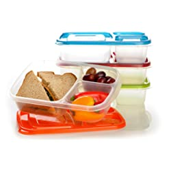 EasyLunchboxes 3-Compartment Bento Lunch Box Containers Set of 4 Classic
