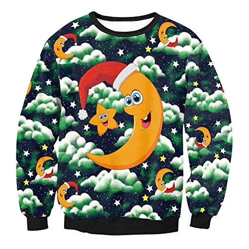 Unisexe Robe Pull Molletonné De Noël, Sauteur En Longueur Pull Noël Col Rond Blouse Manches Avec Dessin 3d D'impression Comme Un Style De Cadeau De Noël 2, S