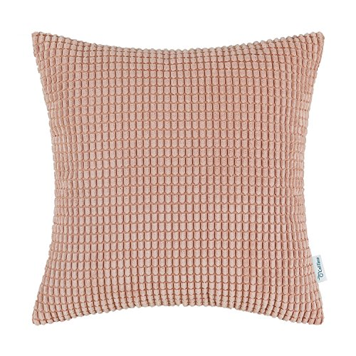 CaliTime Cozy Throw Pillow Cover Case for Couch Sofa Bed Comfortable Supersoft Corduroy Corn Striped Both Sides 22 X 22 Inches Coral Pink
