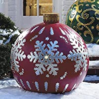 Outdoor Christmas Inflatable Decorated Ball Giant, PVC Giant Christmas Lnflatable Ball with Pump, 60cm Outdoor Fun…