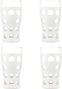 Lifefactory LF340141C4 20-Ounce BPA-Free Indoor/Outdoor Beverage Glass with Protective Silicone Sleeve, 4-Pack, Optic White