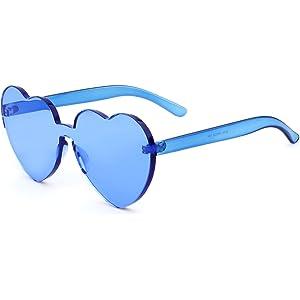 Women Oversize Sunglasses Heart Shape Candy Color Clear Rimless Lens Glasses