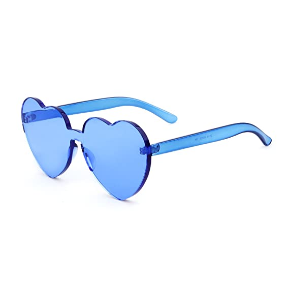 78ec30d0267 Rimless Sunglasses Love Heart Glasses Transparent One Piece Eyewear   Amazon.co.uk  Clothing