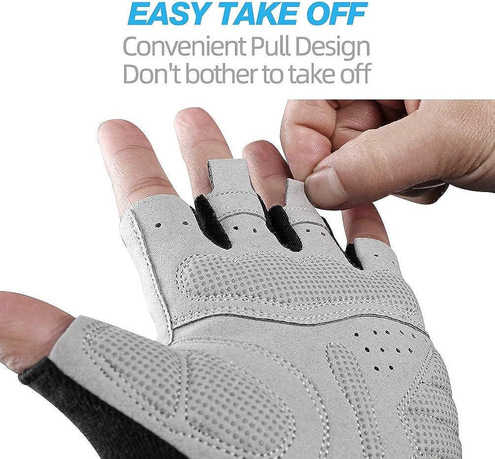 ROCK BROS Bike Gloves Cycling Gloves Half Finger Men Women Mountain Bike Gloves Bicycle Accessories Workout Gloves Shock-Absorbing Pad Anti-Slip Weight Lifting Biking Climbing Exercise Gloves Gray-S