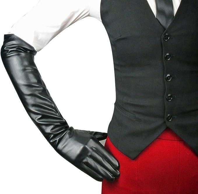 ECOSCO Women Soft Long PU Leather Gloves Prom Opera Costume Accessory Black