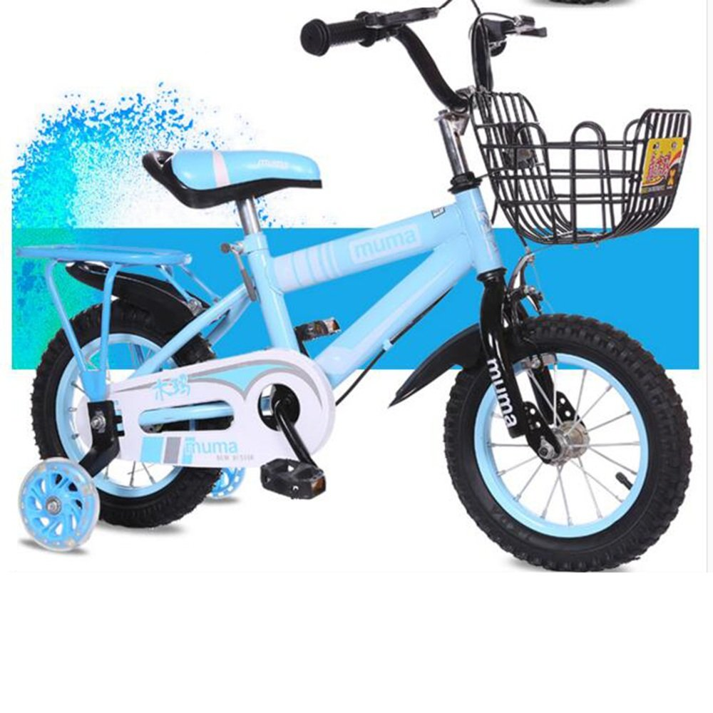 HAIZHEN マウンテンバイク 子供用の自転車、トレーニングホイール付きユニセックス子供用自転車、様々なトレンディな機能、12,14,16および18インチ、おしゃれな男の子と女の子のための贈り物 新生児 B07C44MCN3 12 inch|青 青 12 inch