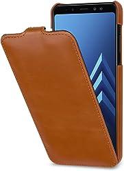 StilGut UltraSlim Case, Custodia Flip Case per Samsung Galaxy A8 (2018) in Vera Pelle, Cognac