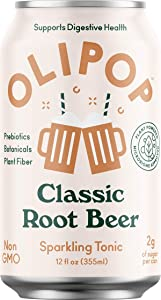 Olipop Sparkling Tonic Drink with Prebiotics and Digestive Health Benefits, 12 Fl Oz with Oasis Snacks Sticker (Classic Root Beer, Pack of 12)