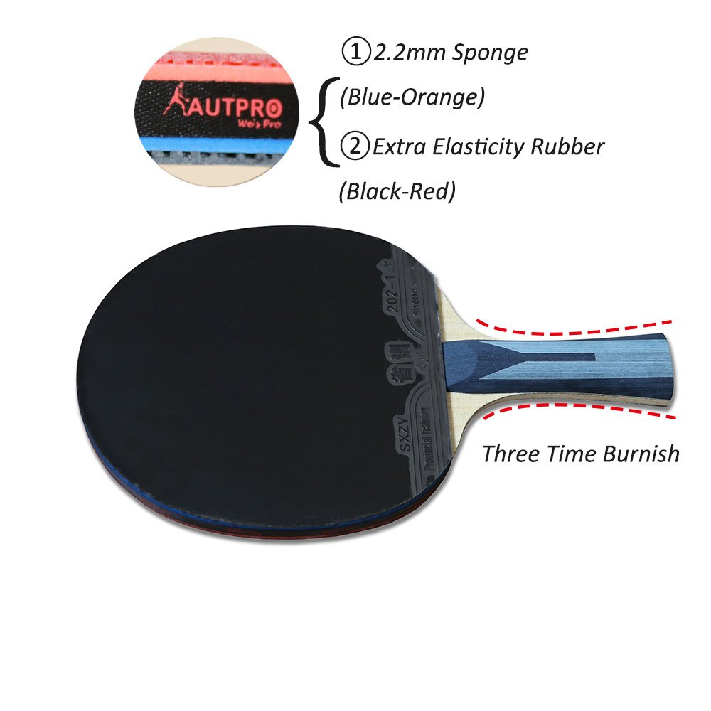 AUTPRO Professional Table Tennis Paddle,Carbon Fiber Blade of Long Handle Ping Pong Racket With Inverted Rubber for High Speed,Strong Spin and Easy Control,Included Case