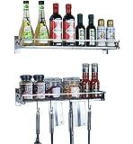 Bessup 壁掛けキッチンラックキッチン調味料製品のラックツールは、ステンレス鋼を洗浄するために簡単に整理(80 * 20 10センチメートル) 80 10